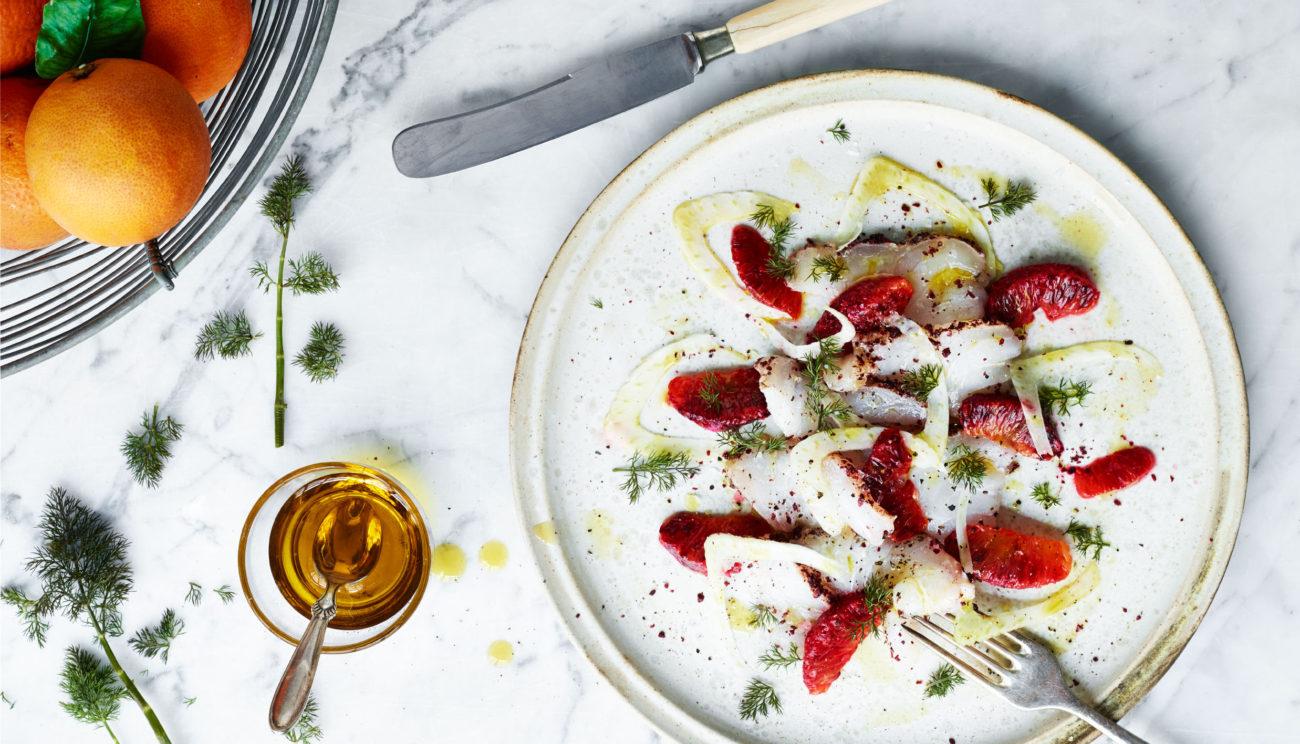 Saltet torsk med sumak, blodappelsiner og fennikel