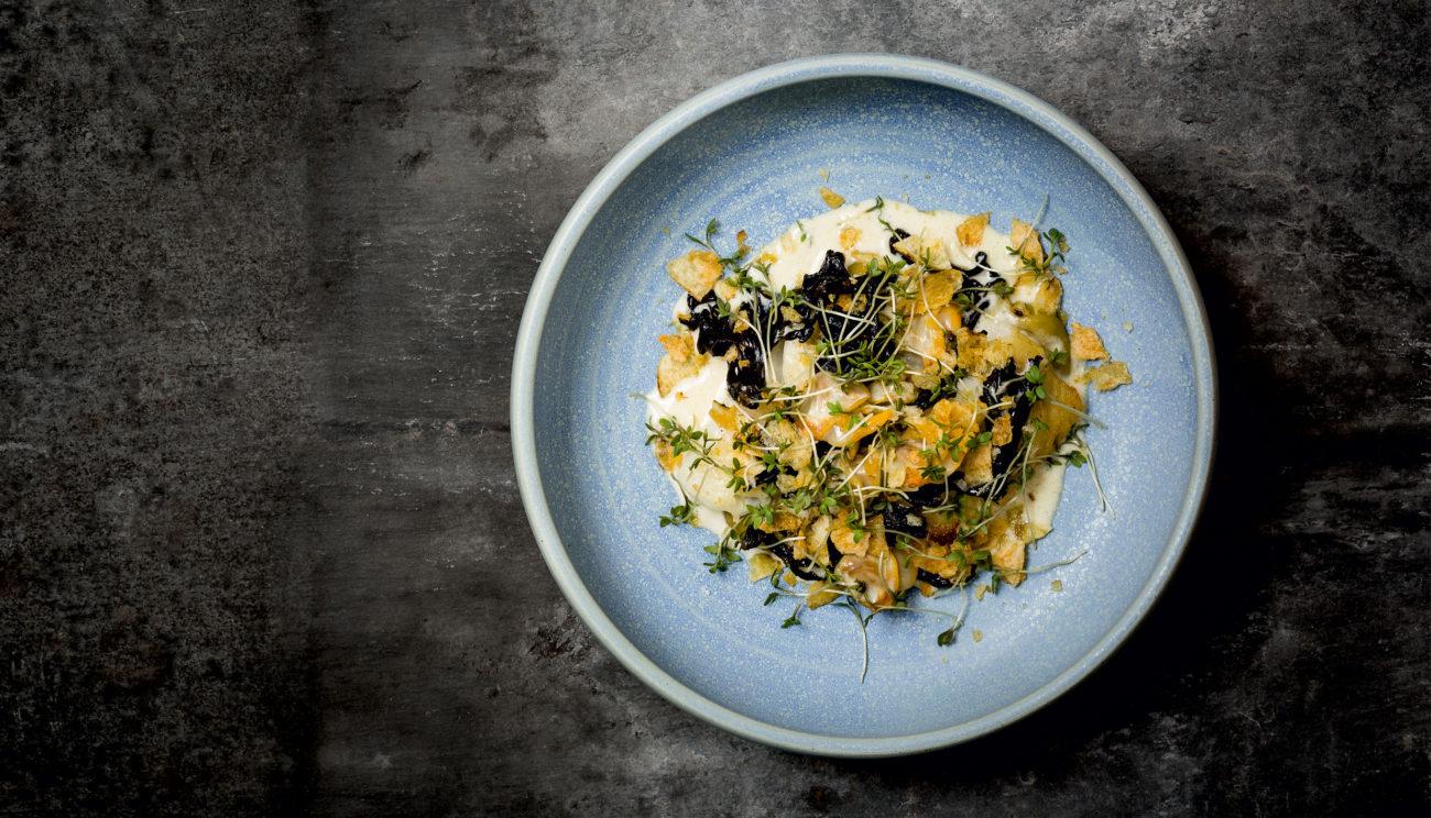 Torsk, broccolipuré og svampe