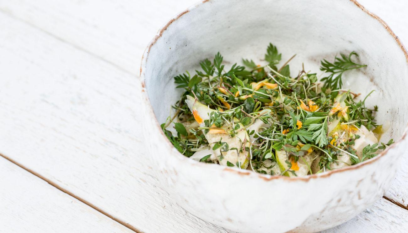 Syltet kål, kylling, urter og kartofler