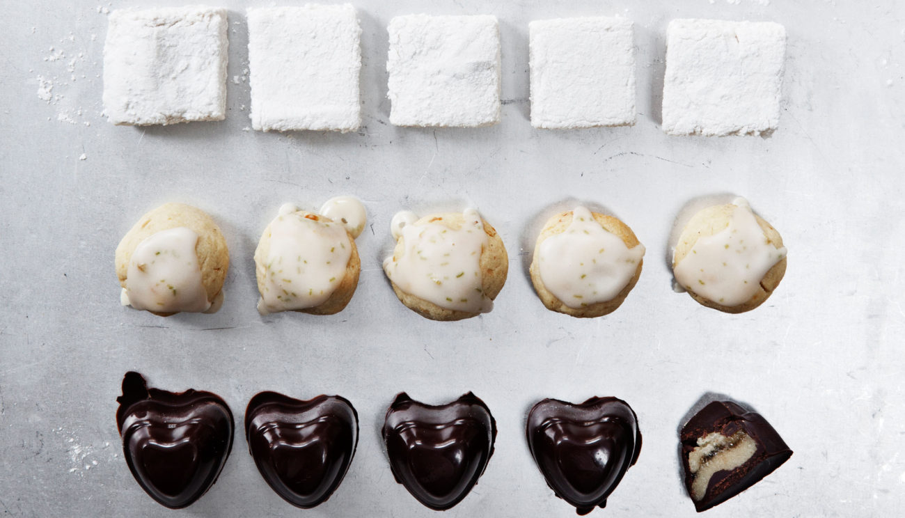 Fyldte chokolader med grangelé
