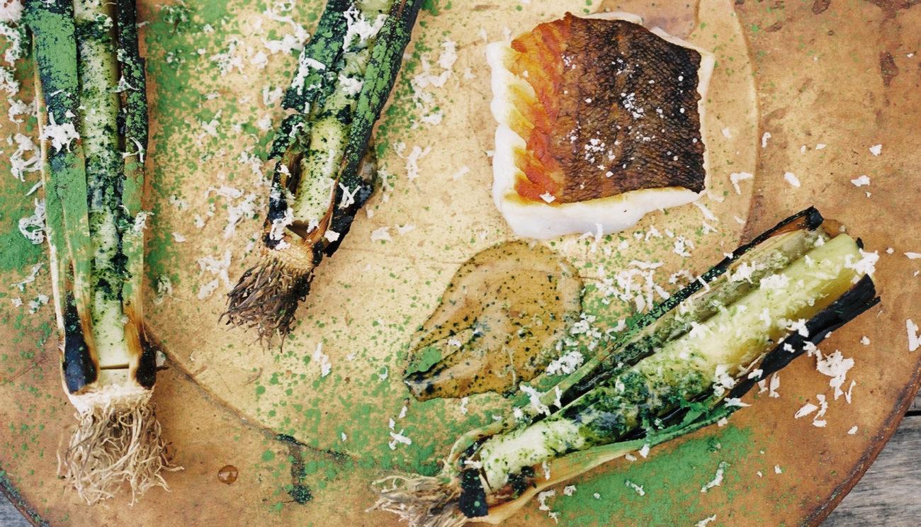 Grillede sommerporrer med matcha-te og stegt torsk
