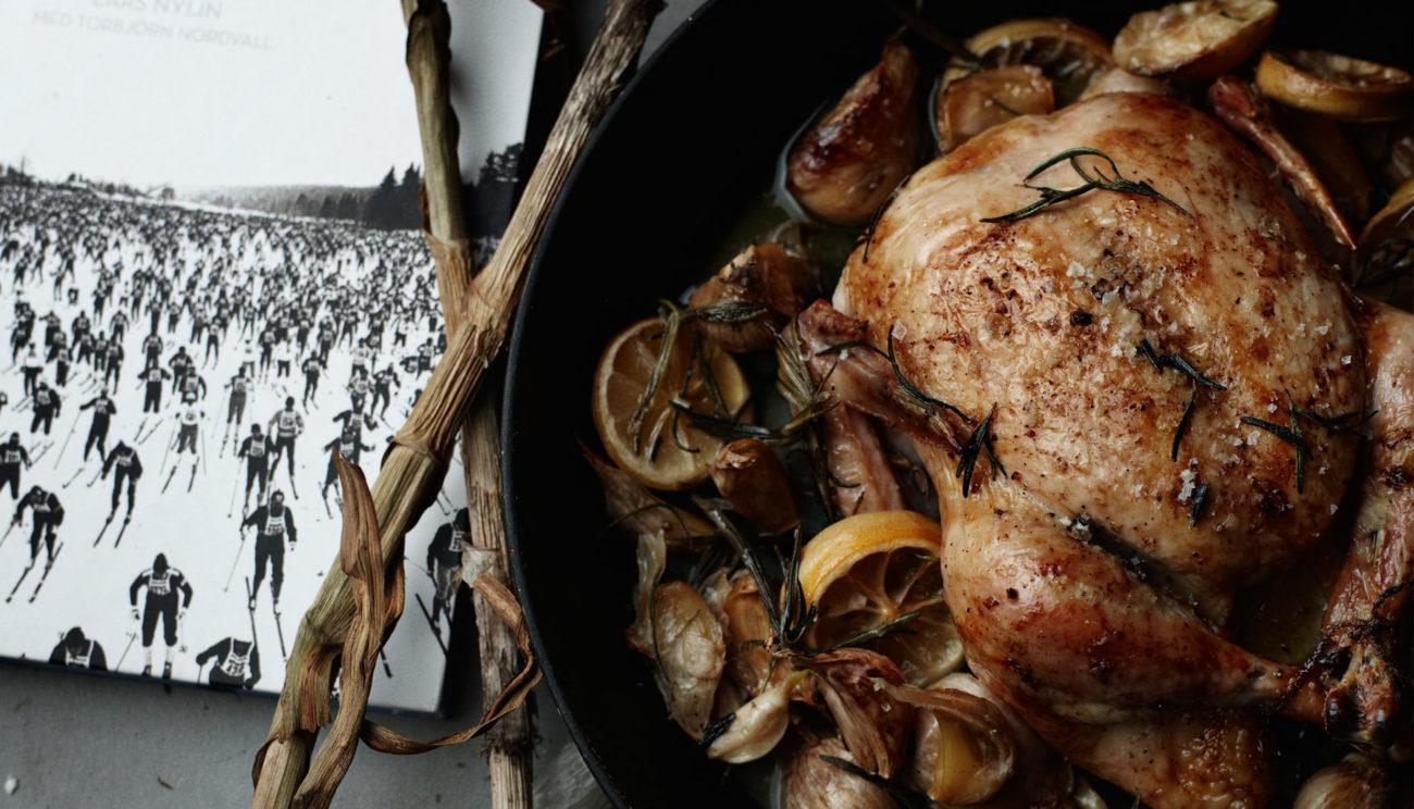 Helstegt kylling med hvidløg