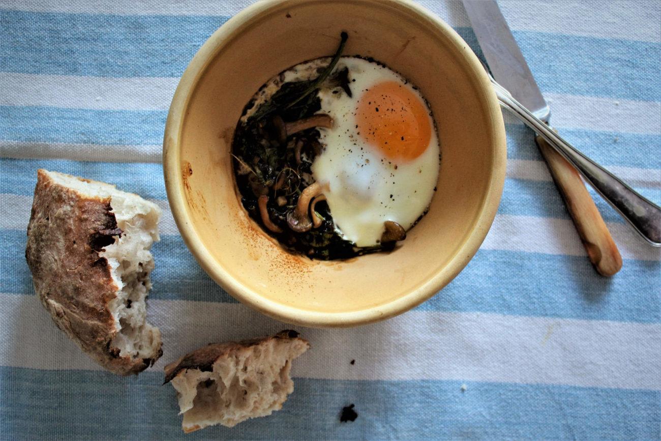 Ouef en cocotte med svampe og timian