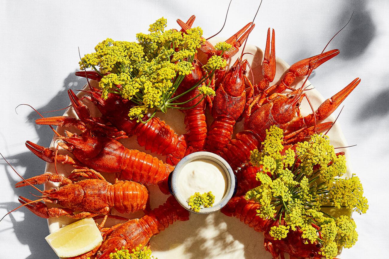 Krebs, fjordrejer eller jomfruhummer kogt i hvidvin med citronmayonnaise