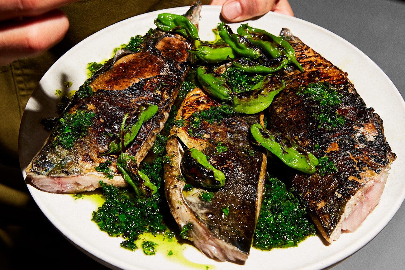 Makrel, sild eller brisling med grønkålschimichurri