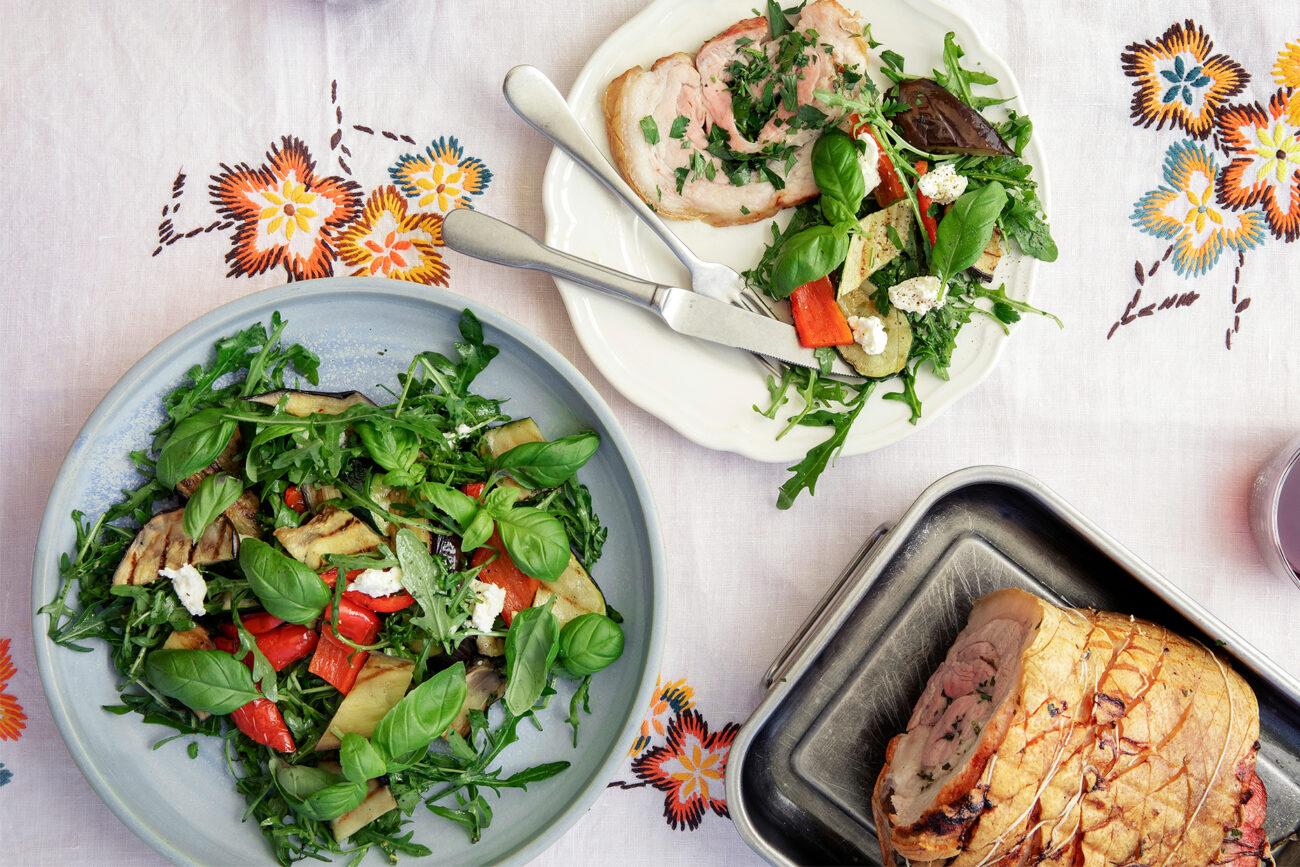 Porchetta med krydderurter og grillsalat